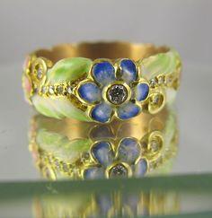 Art Nouveau Enamel Flower Diamond Ring