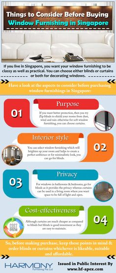 If you live in Singapore, you want your window furnishing to be classy as well as practical. You can choose either blinds or curtains or both for decorating windows. Check out the infographic to know what to consider before buying them.