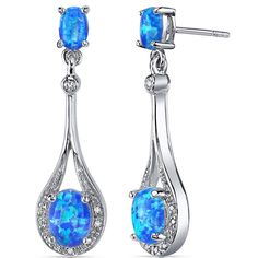 Created Blue-Green Opal Earrings Sterling Silver Oval Shape 3.50 Carats ** Check out the image by visiting the link. (This is an affiliate link) #ILoveJewelry