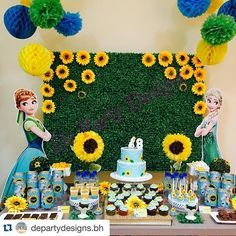 #frozenfeveranna - photos Instagram Frozen Fever Party, Frozen Birthday Party, 6th Birthday Parties, 4th Birthday, Sunflower Party, Frozen Summer, Elsa Frozen, Craft Party, Birthday Decorations