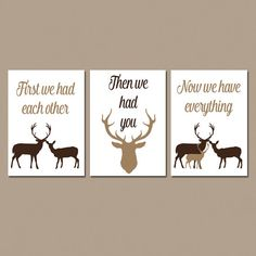 DEER Nursery Wall Art, First We Had You Quote, CHOOSE Your Colors, Rustic Baby Boy Nursery , Set of 3, CANVAS or Prints Baby Shower Gift by BlendedCreationsInc on Etsy