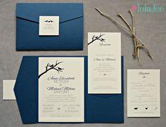 Love Bird Pocketfold Wedding Invitation by IfOnlyLolaLee on Etsy
