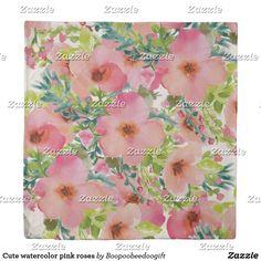 Cute watercolor pink roses duvet cover