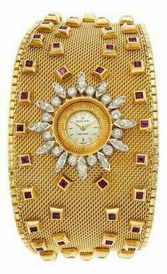 Gold Diamond and Ruby Rolex Cuff Watch .Save by Antonella B. Rossi