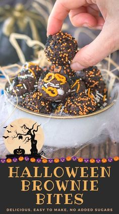 Sweet, chocolaty, and absolutely delicious, these Halloween Brownie Bites are the perfect treat for your Halloween party. Spooky, yummy, and so fun! ----- #halloween #halloweenrecipes #halloweenparty #halloweendesserts #halloweenparty #recipes #lowcalorie Halloween Brownies, Halloween Desserts, Halloween Food For Party, Halloween Treats, No Bake Desserts, Easy Desserts, Delicious Desserts, Holiday Treats, Holiday Recipes