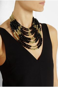 Rosantica|Raissa gold-plated onyx necklace|NET-A-PORTER.COM