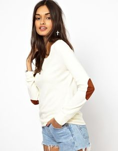 Glamorous Marl Jumper With Elbow Patch
