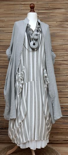 46b49d4024 Lagenlook Oversize 2 PCS Striped Maxi Dress Long Linen Jacket Grey White XL  XXL