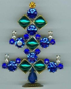Stand Up Mini Blue and Green Christmas Tree Rhinestones Czech Contemporary