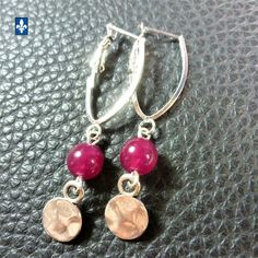 ♥ EASY SHIP TO USA  Nice Fuchsia Agate & Plated Silver Earrings