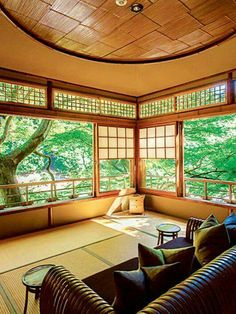 The sheer simplicity, the wide-open feel and the view outside serves to bring about a sense oa calm and peace with an uncluttered mind. - Hoshinoya ryokan in Arashiyama, Kyoto, Japan 星のや Japanese Architecture, Interior Architecture, Interior And Exterior, Sustainable Architecture, Residential Architecture, Japanese Style House, Traditional Japanese House, Japan Design, Bg Design