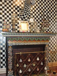 My idea of a well adorned fireplace; love it~ by #mackenzie-childs ny,ny