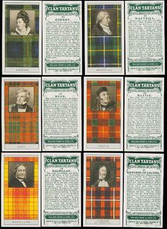 From Walter Scott's Black & White Tartan Design to Famous Scottish Clans Tartans Card Set. love the orang-y colors for fall tables. Outlander, Scotland Travel, Places In Scotland, Scottish Clan Tartans, Scottish Gaelic, Scottish Names, Irish Names, Scottish Man, Scottish Highlands