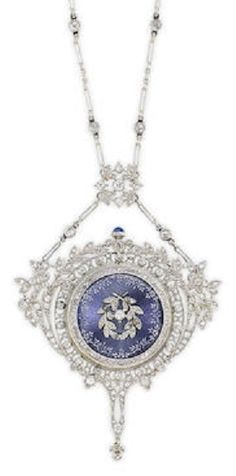 An Edwardian diamond and enamel longchain pendant watch. The watch with a guilloché blue-purple enamel back,  set diamond longchain, with original box and extra link, length 60.0cm.
