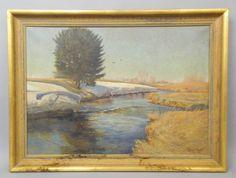 Early-20c-German-Oil-Painting-Wintersonne-Winter-Sun-Landscape-Signed-Hans-Klatt