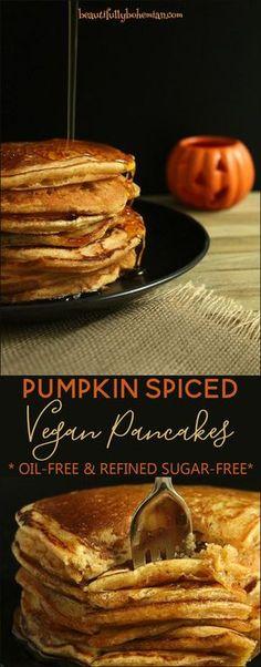 Pumpkin Spiced Vegan Pancakes - Beautifully Bohemi…