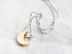 Golden Moon and Silver Star Necklace Faceted Sterling by PetitBlue, $28.00