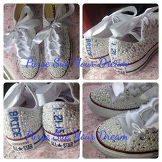 bridal custom shoes swarovski crystal wedding shoes pearl and rhinestone converse bride shoes