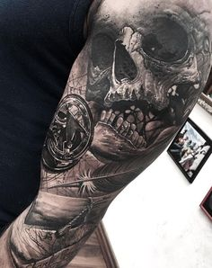 Skull and Compass Tattoo