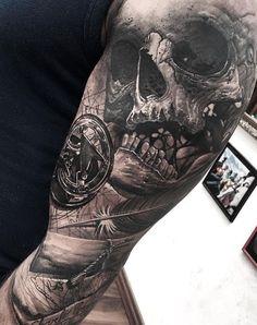 Skull and Compass Tattoo