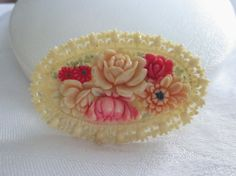 Vintage CELLULOID Pin Brooch Large FLORAL FLowers by jewelryannie, $28.00