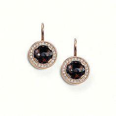 THOMAS SABO Sterling Silver Glam & Soul Earring Earrings  - 925 Sterling silver; 18K rosé gold plated - white syn. zirconia-pavé, smoky quartz Size: 1.2 cm