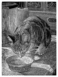 Breakfast with Tiffany / cat - wood engraving - Ann Tout, U.K.