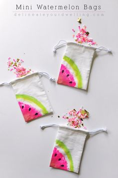 Dollar Store Crafts - Mini Watermelon Bags - Best Cheap DIY Dollar Store Craft Ideas for Kids, Teen, Adults, Gifts and For Home - Christmas Gift Ideas, Jewelry, Easy Decorations. Crafts to Make and Sell and Organization Projects http://diyjoy.com/dollar-store-crafts