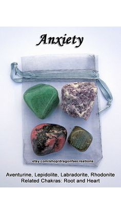 Your place to buy and sell all things handmade Anxiety Crystal Healing Set - Aventurine, Labradorite, Lepidolite, and Rhodonite Reiki, Crystals And Gemstones, Stones And Crystals, Gem Stones, Tumbled Stones, Crystal For Anxiety, Anxiety Crystals, Crystal Magic, Crystal Meanings