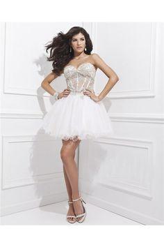Tutu Strapless Sweetheart See Through Corset Short White Tulle Beaded Prom Dress