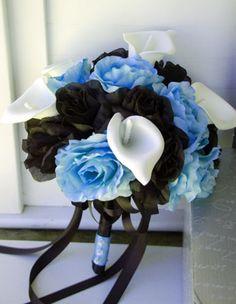 Baby Blue Black Large Rose,Calla Lily Wedding Bridal Bouquet Silk Flower
