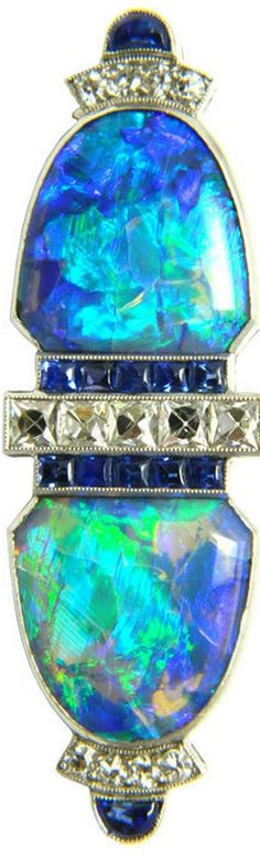 Art Deco opal brooch -- looks like a double clip (Duette), but I'm not sure.
