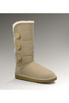 UGG Women's Sheepskin Bailey Button Triplet Sand Tall Boots