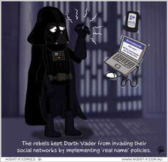 How the rebels keep Darth Vadar off social media sites....