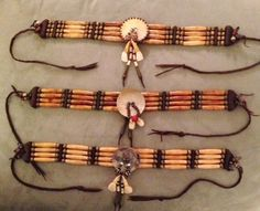 Native American Indian Inspired chokers made from antique trade beads, leather, bone and teeth. Plains Indian pieces so authentically made they could be in a museum. By Artist Kirk J. Native American Clothing, Native American Regalia, Native American Crafts, Native American Beadwork, American Indian Art, Native American Fashion, Cherokee Indian Art, Bone Jewelry, Leather Jewelry