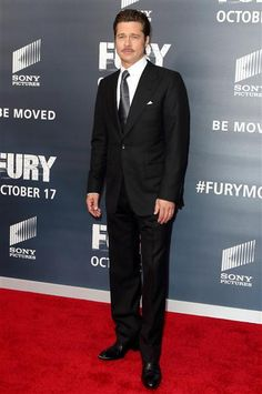 """Brad Pitt arrives for the world premiere of """"""""Fury"""""""" at in Washington, D.C., on Oct. 15, 2014."""