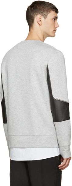Tim Coppens Grey Leather & Zipper Pullover