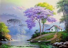Now this is what I call dream home – mi sitio - Malerei Watercolor Landscape, Landscape Art, Landscape Paintings, Watercolor Paintings, Beautiful Paintings, Beautiful Landscapes, Image Nature, Cottage Art, Nature Paintings