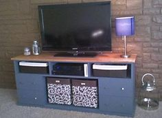 """Looking for a new TV stand for my den, but I don't want a traditional """"entertainment"""" center.  I'm hoping to find a repurpose project like this one."""
