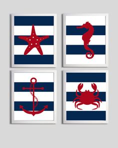 Nursery Art Stripes Nautical Beach Ocean Sea Navy Red more colors available set of 4 each 8x10. $48.00, via Etsy.