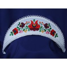 Wedding corolla embroidered, matyó, The mantle on the head of the daughters is the emblem of virginity. Made with handmade embroidery pattern. Its color is white with colorful embroidery, with white lace trim. Make Your Own Ring, Design Your Own Ring, Create Your Own, Custom Wedding Rings, Wedding Ring Designs, Unique Symbols, Hungarian Embroidery, Pink Ring, Celtic Knot