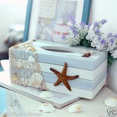 Starfish Sea Shell Beach Ocean Style Wooden Tissue Box Paper Cover Home Decor