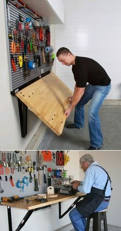 Ditch the Workbench Legs - Bench Solution Folding Workbench Folding Wall-Mounted Workbench by Bench Solution saves valuable floor space, provides a heavy-duty work surface with a load rating, folds down to take up less than 4 inches of garage spa