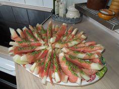 Melon, skinke og pesto...uhm...