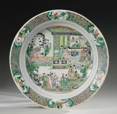 Lot A famille-verte 'Four Accomplishments' basin, Qing dynasty, Kangxi period Diameter 16 in. Chinese China, Chinese Art, Chinese Figurines, Chinese Ceramics, China Painting, Qing Dynasty, Chinese Antiques, Japan Art, Plates And Bowls