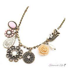Vintage Blüten Collier Strass Rose  antik Gold im...