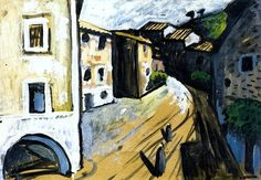 Village Street with Two Women Auguste Chabaud - 1910