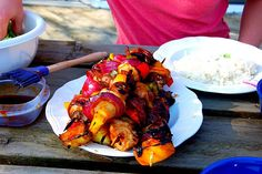 teriyaki chicken and steak kebobs.  perfect summer grilling