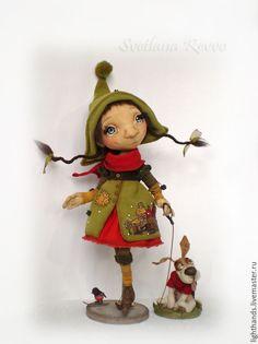 Купить В зимний день. Коллекционная кукла - оливковый, кукла ручной работы, кукла текстильная