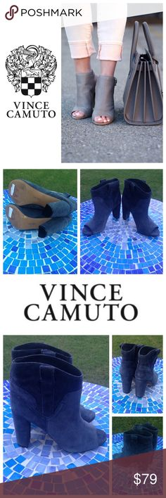 """NEW!  Vince Camuto Camey suede peep toe booties Incredibly gorgeous Vince Camuto peep-toe booties are ultra-plush and perfectly on-trend!  Crafted from butter-soft suede, these booties will fit & feel, amazing!  Available in a blue-grey shade of 'Storm' that is totally versatile to pair with everything!  Size is 8.5 and retail at $189!  Heel measures approx. 4"""" and will work with dressy or casual attire!  No trades please!  Tried on but brand new, never worn!  Don't miss them! Vince Camuto…"""